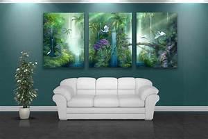 Wall Art Design Ideas: Natural Painting Forest Wall Art ...