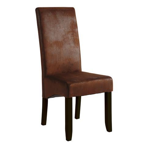 chaise cuir marron chaise tissu imitation cuir marron 46x60x108cm lot de 2