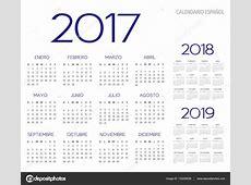 Vector de calendario 201720182019 Español — Vector de