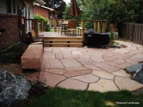 Flagstone Patio with Deck