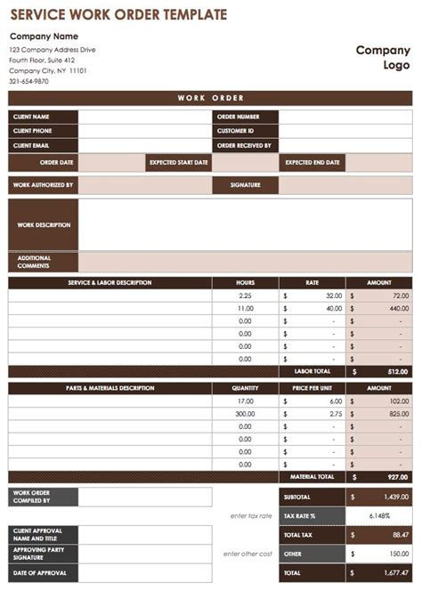 work order template mt home arts