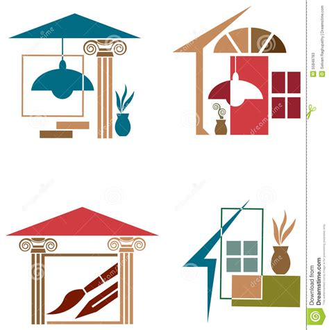 interior decor logo set stock vector image of decor