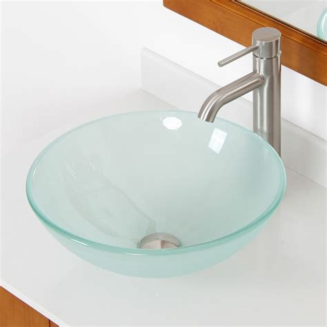 Tempered Glass Bathroom Sink by Elite Layered Tempered Glass Bowl Vessel