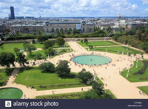 Aerial view of Jardin des Tuileries from the great wheel Paris Stock Photo: 38991466
