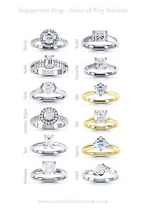 different types of wedding rings engagement ring help styles of ring shoulders a chart of various types of engagement ring