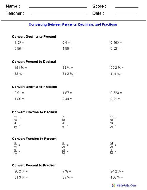converting decimals to fractions worksheets 7th grade