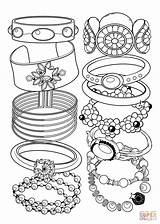Coloring Bracelets Pages Jewelry Printable Drawing Books Main Paper sketch template