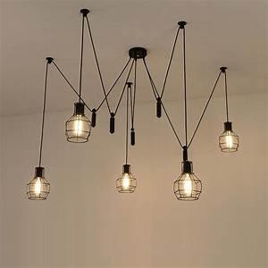 Spider, Pendant, Lights, Led, Spider, Light, Modern, Lamp, Single, Pulley, Pendant, Light, Ceiling, Hanging