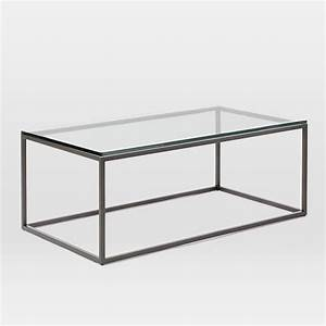 Box frame coffee table glass antique bronze west elm for Box frame coffee table glass