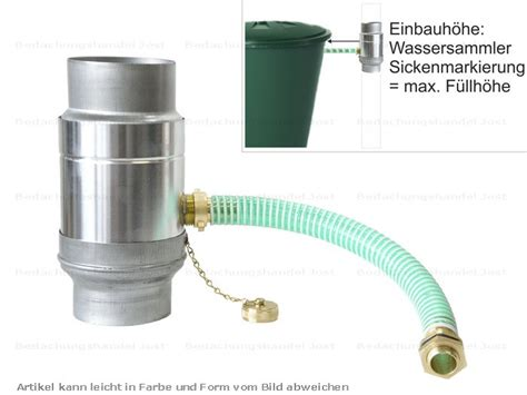 regensammler mit überlaufstop zink fallrohr regensammler mit schlauch d 87mm frostsicher dachrinne und fallrohre wassersammler