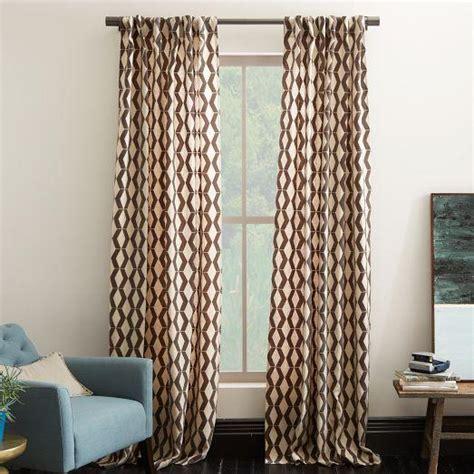 rhombi flocked brown  ivory curtain