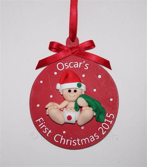personalised  christmas fimo baby tree bauble
