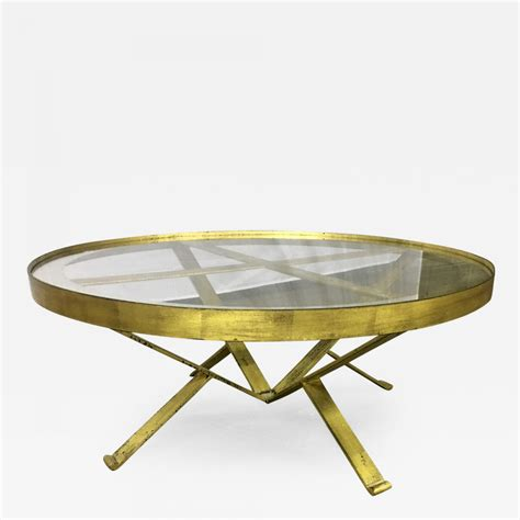 40 inch coffee table with wicker storage baskets driftwood 20492989 52 99 the best deals furniture. Large Round 40s French Gold Leaf Wrought Iron Coffee Table