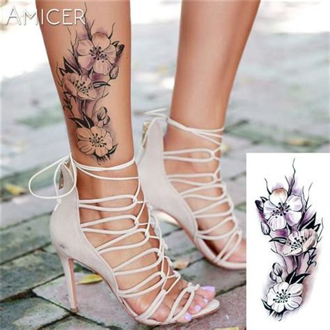 assorted flower temporary tattoos products feet