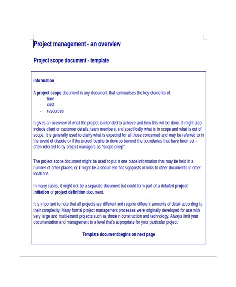 project documentation template 8 project scope template free sle exle format free premium templates