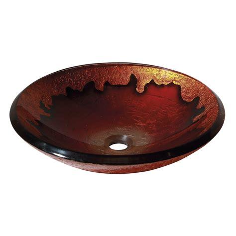 red glass vessel sink shop avanity gold lava tempered glass vessel round