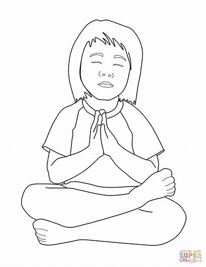 Praying Coloring Child Pages Drawing Person Printable