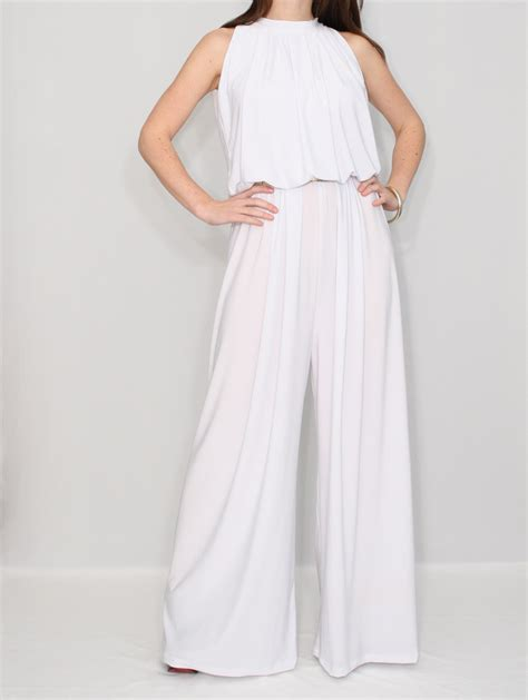 wide leg pant jumpsuit items similar to womens white jumpsuit wide leg jumpsuit
