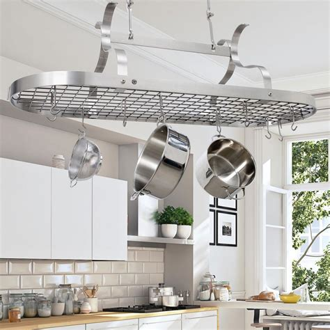 Kitchen Ceiling Pot Hangers by Enclume Handcrafted Scroll Arm Oval Ceiling Pot Rack With