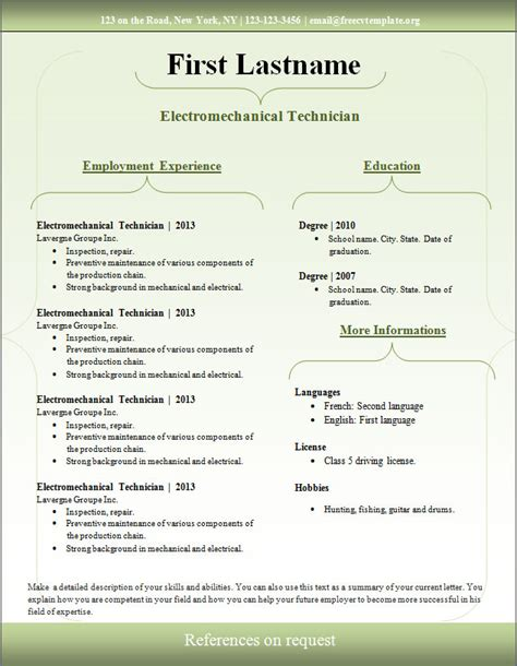 Professional Curriculum Vitae Template Free Download