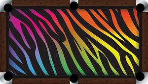 Vivid rainbow zebra 739 839 pool table felt billiard cloth for Pool table cloth designs