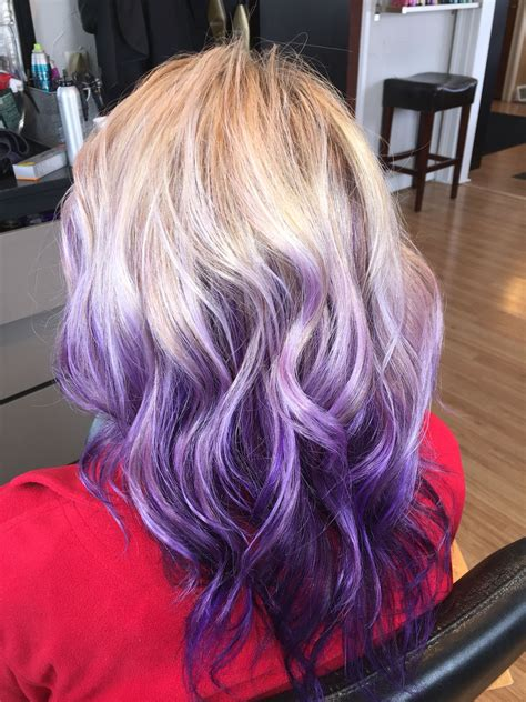 Blonde With Purple Violet Ombré Balayage Hair Hair