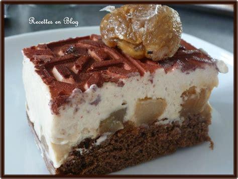gateau entremets biscuit au chocolat mousse aux marrons poires et pommes poelees recettes en
