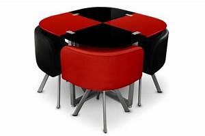 Table Avec 4 Chaises : table repas damier 4 chaises rouge et noir tables manger pas cher ~ Teatrodelosmanantiales.com Idées de Décoration