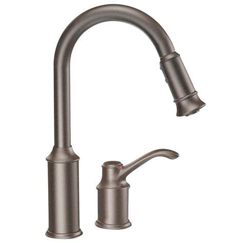 rubbed bronze pull kitchen faucet shop moen aberdeen oil rubbed bronze 1 handle deck mount pull down kitchen faucet at lowes com