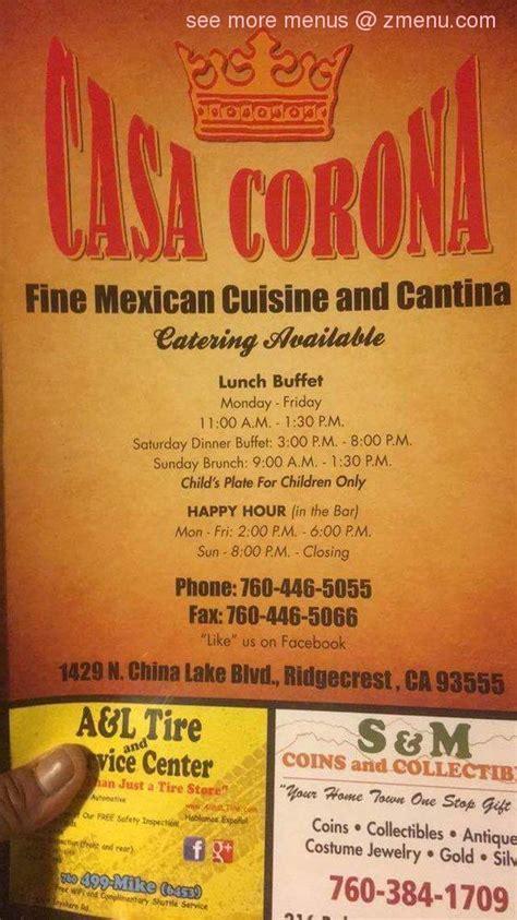 menu  casa corona restaurant ridgecrest