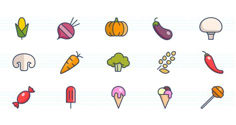 color icons set food media icons pixeden