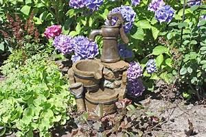 59cm brunnen holz stein optik wasserspiel springbrunnen With französischer balkon mit stein deko garten
