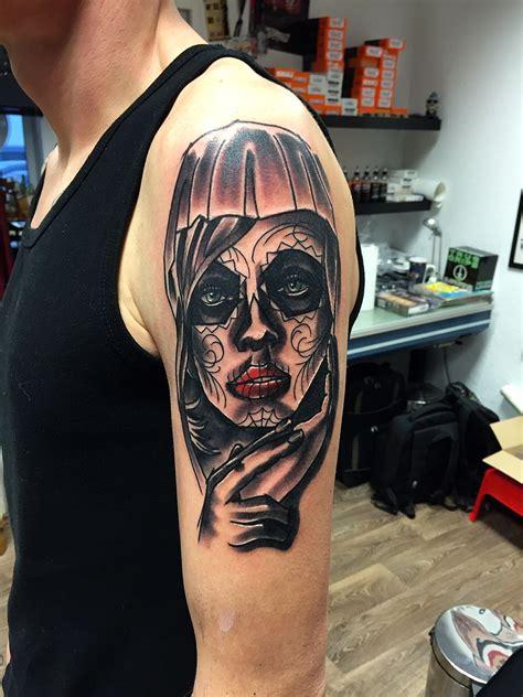 black  grey catrina tattoo   sleeve