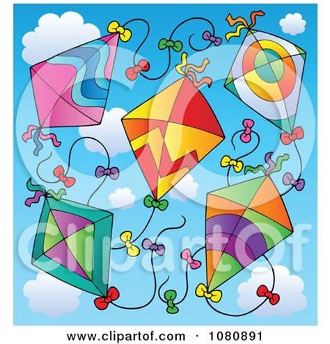 clipart  black  white happy children flying kites