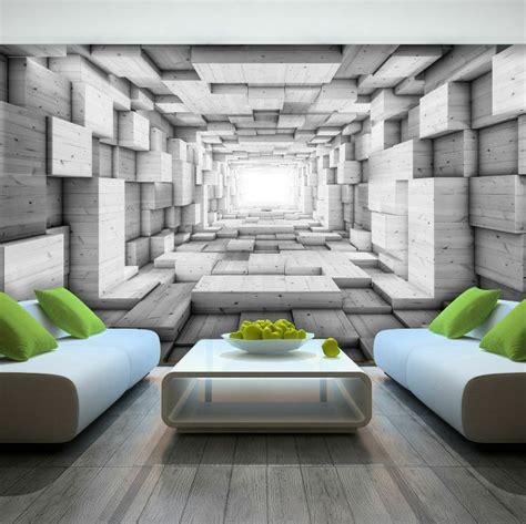 3d Wall Murals Wallpaper by Photo Wallpaper Wooden 3d Effect Abstract Tunnel Wall