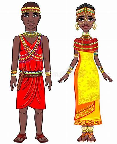 African Clothes Animation Ethnic Portrait Clipart Kenya