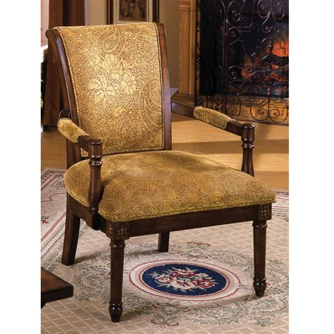 Stockton Accent Arm Chair Handcarved Padded Fabric Seat