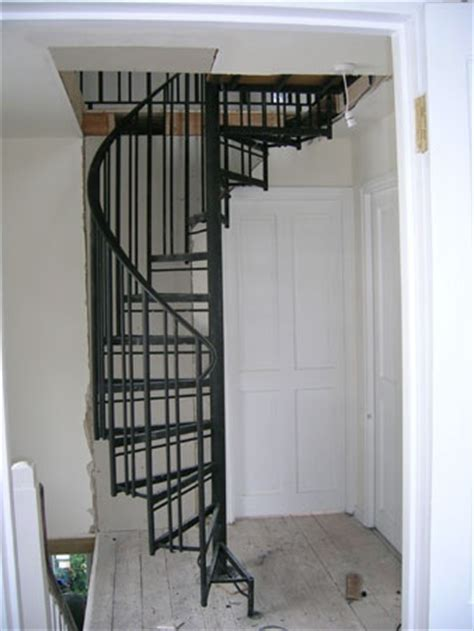 narrow hallway space saving attic spiral stairs house