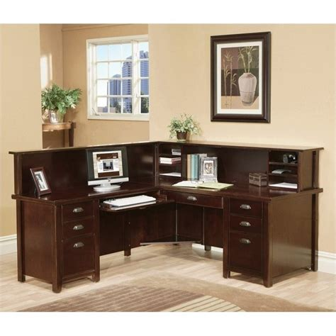 l shaped executive desk with hutch kathy ireland home by martin tribeca loft cherry lhf l