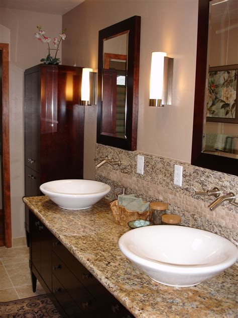 vessel sinks wall mounted faucets  granite