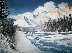 Winter In The Canadian Rockies Painting by Sharon Duguay