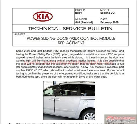 manual repair autos 2011 kia sedona parking system kia sedona vq 2006 2012 technical service bulletin auto repair manual forum heavy