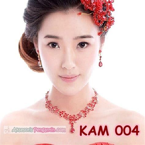 jual kalung anting pesta pengantin l aksesoris wedding merah wanita kam 004 aksesoris