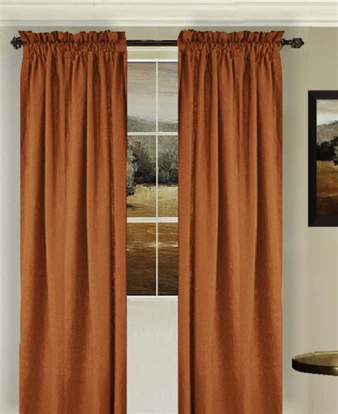 Tie Up Shade Curtain by Solid Rust Colored Window Long Curtain Available In Many