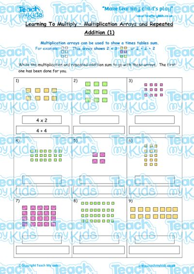 multiplication arrays repeated addition 1 teach my kids