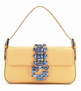 fendi baguette embellished leather shoulder bag in yellow With fendi letter bag