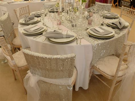 sequin chair veils and sequin table runner designed and supplied by simply bows and chair covers