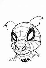 Spider Ham Peter Porker Marvel Sketch sketch template