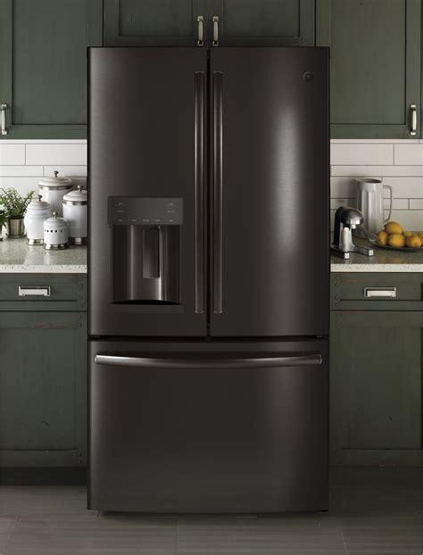 gfegelds ge   cu ft french door refrigerator led black slate