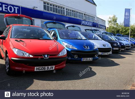 peugeot car dealers french peugeot car dealership and forecourt with the